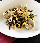 Squid Ink Pasta with Squid, Calamari, Clams, Tomatoes and Olives