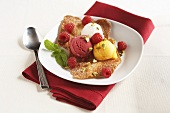 Three Scoops of Sorbet on Tuille with Raspberries and Mint
