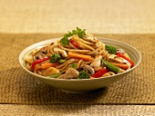 Asian Noodles with Steamed Chicken and Vegetables; In a  Bowl