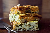Pieces of Vegetable Frittata Stacked