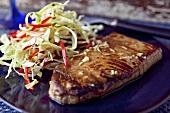 Tuna Steak with Cole Slaw