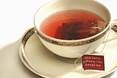Acai Berry Caffeine Free Herbal Tea Tea Bag Steeping in a Cup