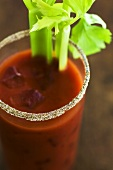 Bloody Mary with Salted Rim and Celery Stalks