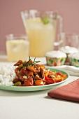 Vegan Dinner of Vegetables and Rice; Lemonade and Cupcakes