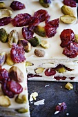 Marzipan, Pistachio and Cranberry Squares