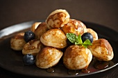 Mini Pancakes with Maple Syrup and Blueberries