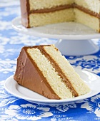 Slice of Yellow Layer Cake with Chocolate Frosting