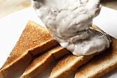 Pouring Creamed Chipped Beef on Toast