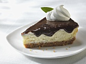 Slice of Cheesecake with Chocolate Sauce Topping and Whipped Cream