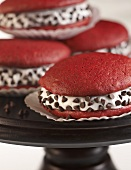 Red Velvet Whoopie Pies with Cream Filling and Chocolate Chips