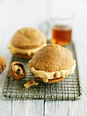 Whoopie pies with maple and walnut cream