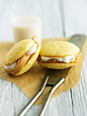 Whoopie pies with peanut butter and marshmallow cream