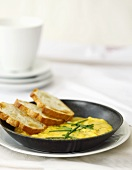 Breakfast Omelet with Chives and Toast