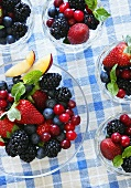 Bowls of Berry Salad; From Above