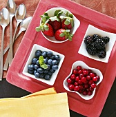 Four Bowls of Assorted Berries on a Tray; From Above