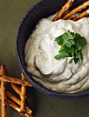 Bowl of Onion Dip with Pretzels; From Above