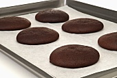 Chocolate Whoopie Pie Shells on Baking Sheet