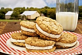 Oatmeal Whoopie Pies with a Glass of Milk