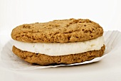 Oatmeal Whoopie Pie on White Background