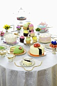 Dining Table Set with Many Assorted Cakes