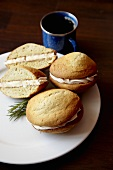 Rosemary Whoopie Pies with Lemon Cream; Cup of Coffee