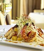 Grilled Shrimp with Jicama Salad; Glass of White Wine