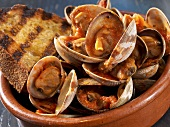 Bowl of Clams in a Tomato Sauce with a Slice of Grilled Bread