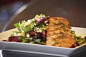 Grilled Salmon Salad with Cherries, Almonds and Goat Cheese