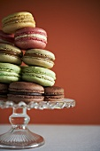 Various Flavors of Macaroons on a Glass Pedestal Dish