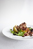 Barbecue Pork and Baked Apple Salad in a White Bowl