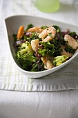 Shrimp Broccoli and Kale Stir Fry in a Bowl