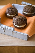 Mini Whoopie Pies on a Tray Lined with an Orange Napkin