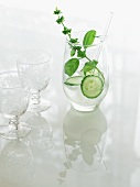 Culinary Cocktail with Cucumber and Basil; Two Glasses