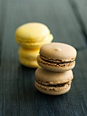 Two Chocolate Macaroons Stacked; Two Stacked Lemon Macaroons