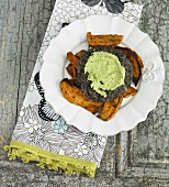 Black Bean Burger with Pesto Spread on Sweet Potato Fries