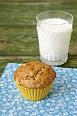 A Banana Muffin with a Glass of Milk
