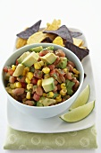 Cowboy Caviar; Bean, Avocado and Corn Salsa with Tortilla Chips