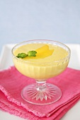 Mango Pudding in a Glass Bowl