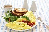 Omelet with Toast and Coffee