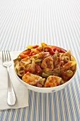 Penne Pasta with Chicken, Tomato and Bell Peppers in a Bowl