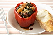 Stuffed Red Bell Pepper with a Slice of Bread