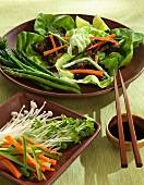 Asian Beef Wraps in Lettuce; Asparagus and Fresh Veggies; Chopsticks