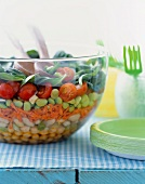Layered Summer Salad in a Glass Serving Bowl
