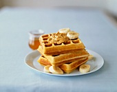 Stack of Waffles with Almond Butter and Banana