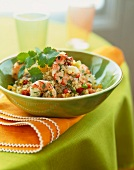 Bowl of Sesame Quinoa Shrimp with Cilantro