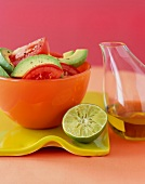 Fresh Tomato and Avocado Salad with Lime and Oil