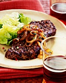 Peppered Steak with Onions and a Side Salad