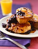 French Toast with Maple Syrup and Blueberry Sauce
