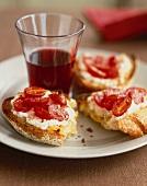 Broiled Tomato Ricotta Toasts