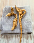 Ginseng on a Grey Napkin